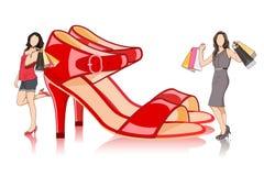 Dame met het Winkelen Zak en grote sandel Stock Foto
