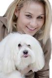 Dame met hond Royalty-vrije Stock Afbeelding