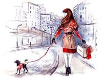 Dame met hond stock illustratie