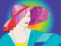 Dame met kleurrijke hoed Vector Illustratie