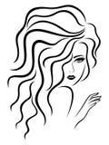 Dame met sensueel gezicht royalty-vrije illustratie