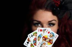 Dame met speelkaarten Stock Fotografie