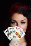 Dame met speelkaarten Royalty-vrije Stock Foto's