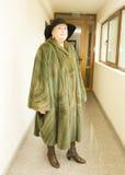 Dame in mink furcoat Stock Afbeelding