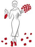 Dame mit einem Blumenstrauß von roten Rosen geht weg Stockbild