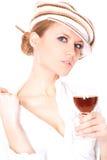 Dame mit einem Glas Wein Stockbild