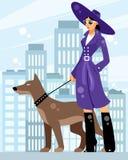 Dame mit einem Hund stock abbildung