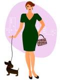 Dame mit einem Hund Stockbild