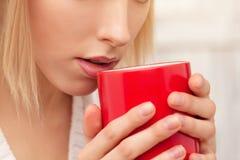 Dame mit einer Tasse Tee zuhause Lizenzfreie Stockbilder