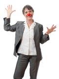 Dame mit roter Wekzeugspritze Stockfotos