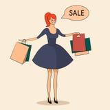Dame mit Verkaufsillustration einiger Taschen Stockbild