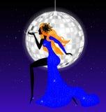 dame-nacht in blauw Stock Afbeeldingen