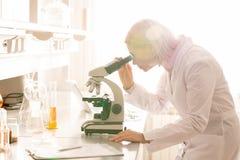 Dame occupée étudiant l'échantillon par l'intermédiaire du microscope images libres de droits