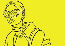 Dame op de gele achtergrond Stock Illustratie