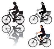 Dame op fiets Stock Afbeelding