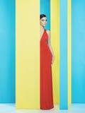Dame op kleurrijke achtergrond Royalty-vrije Stock Foto