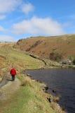 Dame op voetpad door Watendlath de Tarn, Cumbria Royalty-vrije Stock Fotografie
