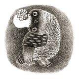 Dame Owl in einem Retro- Hut Stockbild
