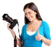 Dame Photographer hatte eine erfolgreiche Fotoaufnahme Stockbild