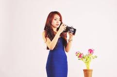 Dame Photographer Taking Foto Stockbilder