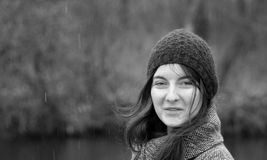 Dame In The Rain Lizenzfreies Stockbild