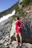 Dame In Red Stockfoto