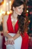 Dame In Red Stockbild