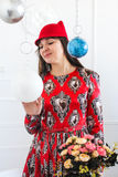Dame In Red Royalty-vrije Stock Afbeeldingen