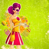 Dame in Retro Stijl vector illustratie
