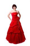 Dame in rode kleding Stock Fotografie