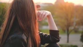 Dame romantique de brune de vibe appréciant le parc de coucher du soleil banque de vidéos
