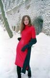 Dame in rood stock afbeeldingen