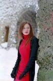 Dame in rood stock fotografie