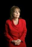Dame in Rood - de Toekomst van Gezichten stock afbeeldingen