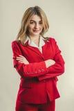 Dame in rood jasje Stock Afbeelding