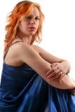 Dame in satijn Royalty-vrije Stock Afbeelding