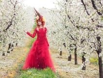 Dame Spring in de kersenboomgaard royalty-vrije stock afbeelding