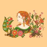 Dame Summer met bloemen Kleurrijk krabbelportret van mooi meisje in profiel royalty-vrije illustratie