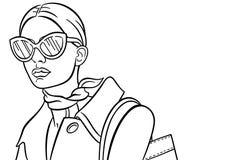 Dame With Sunglasses Vector Illustratie