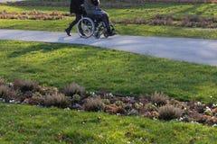 dame supérieure avec le fauteuil roulant photo libre de droits