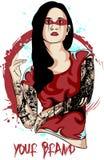 Dame Tattooed Stockfoto
