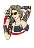 Dame Tattooed Stockbild