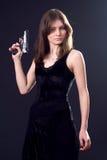 Dame und Gewehr stockfoto
