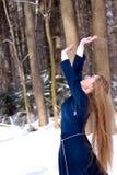Dame und Schnee Stockfotos