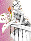 Dame und weiße Blume lizenzfreie abbildung