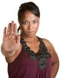 Dame Using Stop Gesture Royalty-vrije Stock Foto's