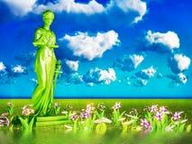 Dame van rechtvaardigheid en bloemen, 3d illustratie Royalty-vrije Stock Afbeelding