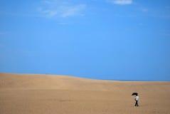 Dame in woestijn stock fotografie