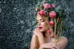 Dame zoals Kerstmisboom royalty-vrije stock foto