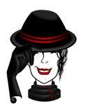 dame in zwarte hoedenillustratie Royalty-vrije Stock Foto